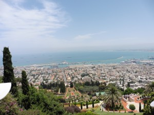The Bahá'í World Centre Gardens and the City of Haifa below